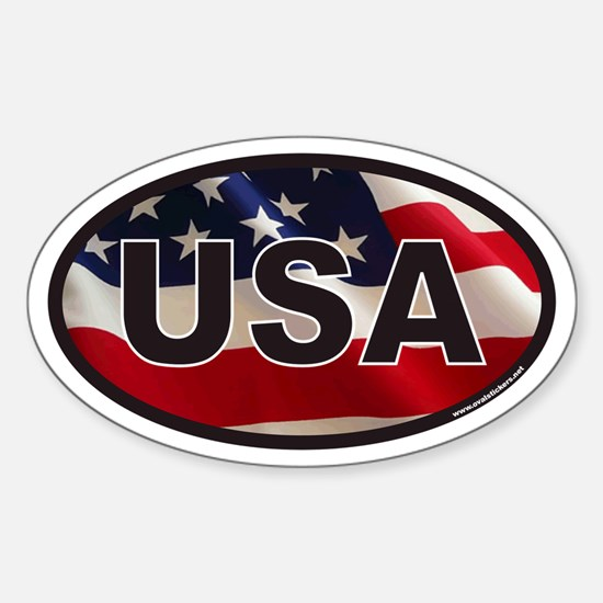 USA Oval Sticker with American Flag Background