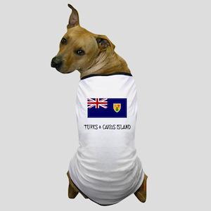 Turks & Caicos Island Flag Dog T-Shirt