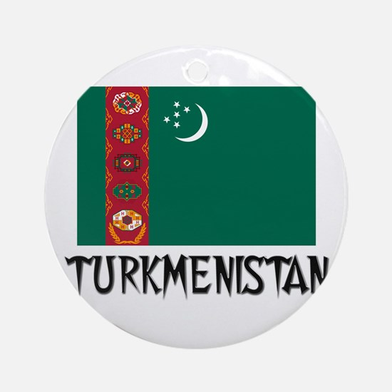 Turkmenistan Flag Ornament (Round)