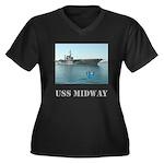 Her Plus Size V-Neck Dark USS Midway T-Shirt
