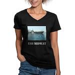 Her V-Neck Dark USS Midway T-Shirt