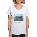 Women's V-Neck USS Midway T-Shirt