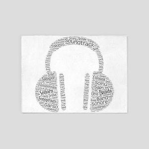 soundtrack languages wordart 5'x7'Area Rug