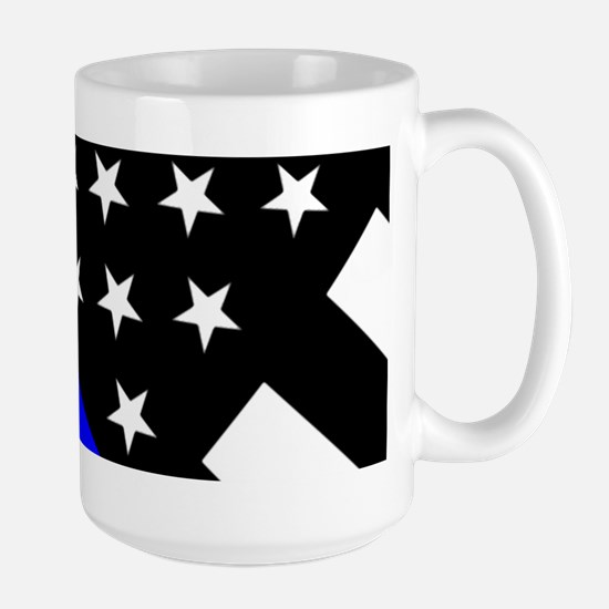 Police Flag: Thin Blue Line Large Mug