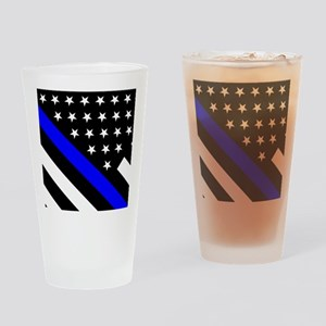 Police Flag: Thin Blue Line Drinking Glass