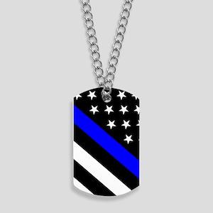 Police Flag: Thin Blue Line Dog Tags