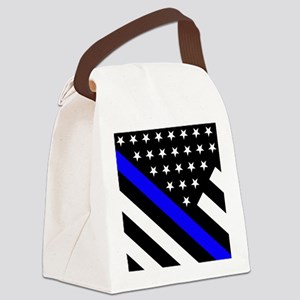 Police Flag: Thin Blue Line Canvas Lunch Bag