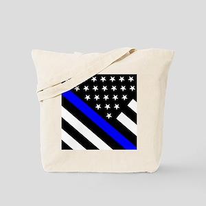 Police Flag: Thin Blue Line Tote Bag
