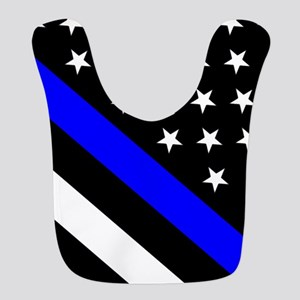 Police Flag: Thin Blue Line Polyester Baby Bib
