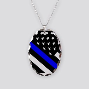 Police Flag: Thin Blue Line Necklace Oval Charm