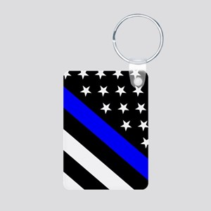 Police Flag: Thin Blue Lin Aluminum Photo Keychain
