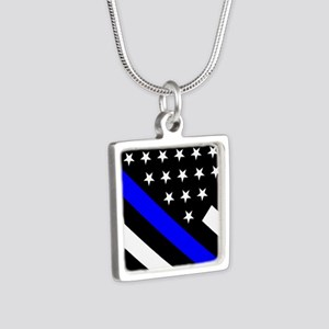 Police Flag: Thin Blue Lin Silver Square Necklace