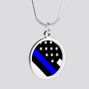 Police Flag: Thin Blue Line Silver Round Necklace