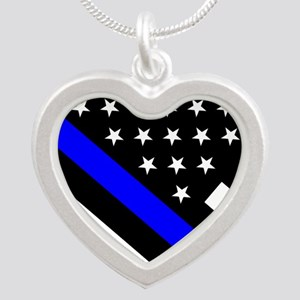Police Flag: Thin Blue Line Silver Heart Necklace