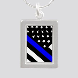 Police Flag: Thin Blue L Silver Portrait Necklace