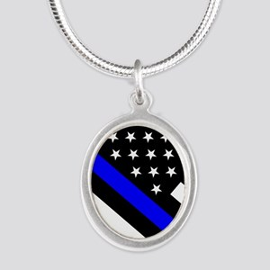 Police Flag: Thin Blue Line Silver Oval Necklace