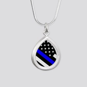 Police Flag: Thin Blue L Silver Teardrop Necklace