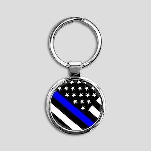 Police Flag: Thin Blue Line Round Keychain