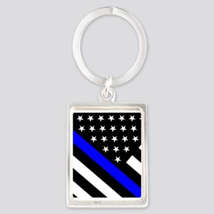 Police Flag: Thin Blue Line Portrait Keychain