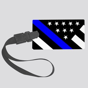 Police Flag: Thin Blue Line Large Luggage Tag