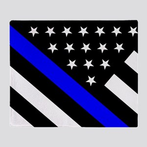 Police Flag: Thin Blue Line Throw Blanket