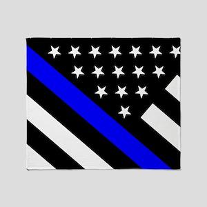 Police Flag  Thin Blue Line Throw Blanket 019e40519