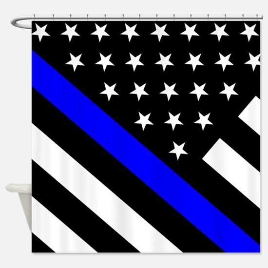 Police Flag: Thin Blue Line Shower Curtain
