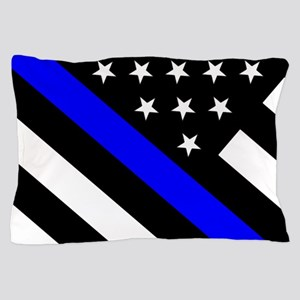 Police Flag: Thin Blue Line Pillow Case