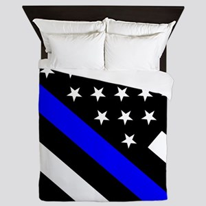 Police Flag: Thin Blue Line Queen Duvet