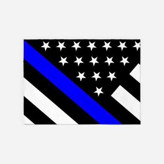Police Flag: Thin Blue Line 5'x7'Area Rug