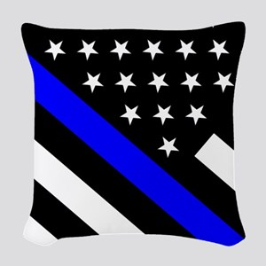 Police Flag: Thin Blue Line Woven Throw Pillow