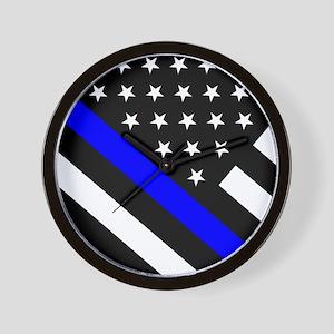 Police Flag: Thin Blue Line Wall Clock