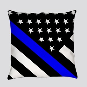 Police Flag: Thin Blue Line Everyday Pillow