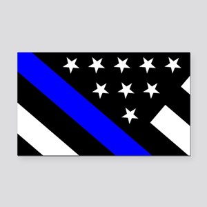 Police Flag: Thin Blue Line Rectangle Car Magnet