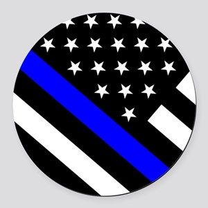 Police Flag: Thin Blue Line Round Car Magnet