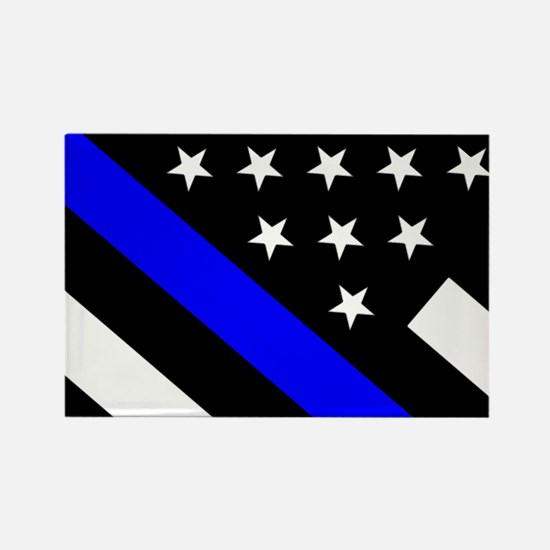Police Flag: Thin Blue Line Rectangle Magnet
