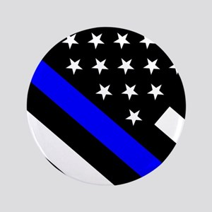 Police Flag: Thin Blue Line Button