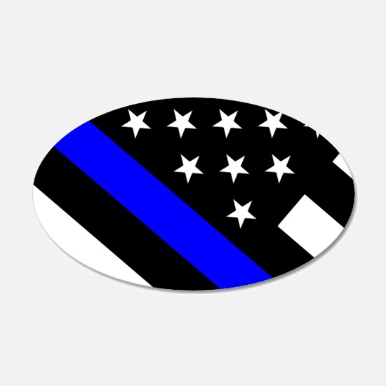 Police Flag: Thin Blue Line Decal Wall Sticker