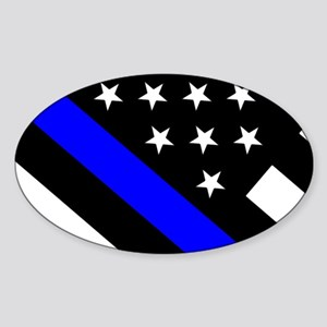 Police Flag: Thin Blue Line Sticker (Oval)