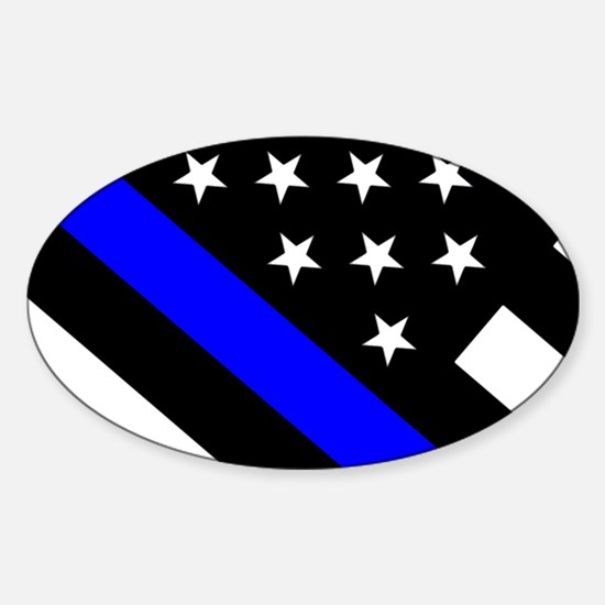 Police Flag: Thin Blue Line Sticker (Oval)