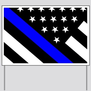 Police Flag: Thin Blue Line Yard Sign