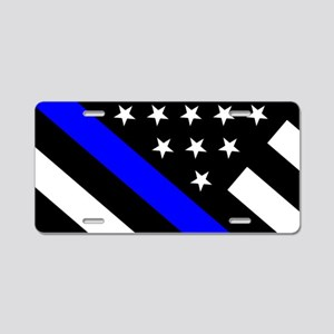 Police Flag: Thin Blue Line Aluminum License Plate