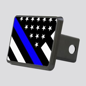 Police Flag: Thin Blue Lin Rectangular Hitch Cover