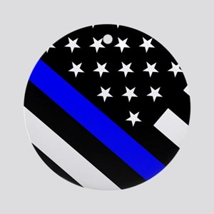 Police Flag: Thin Blue Line Round Ornament