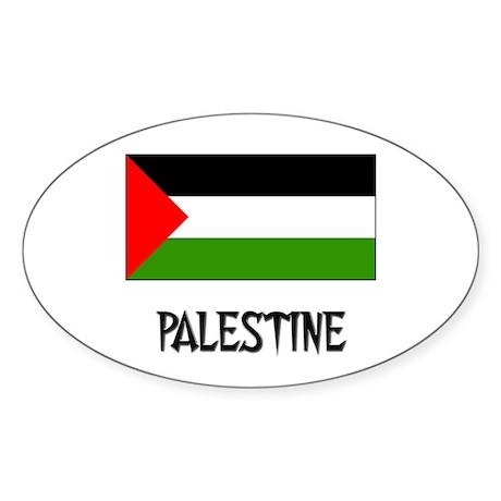 Palestine Flag Oval Sticker