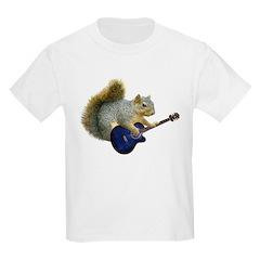 Squirrel with Blue Guitar Kids Light T-Shirt