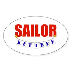 Retired Sailor Oval Sticker (10 pk)