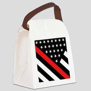 Firefighter Flag: Thin Red Line Canvas Lunch Bag