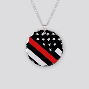 Firefighter Flag: Thin Red L Necklace Circle Charm