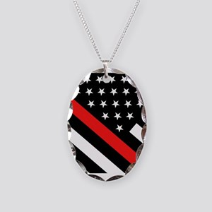 Firefighter Flag: Thin Red Lin Necklace Oval Charm